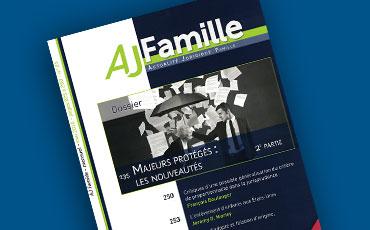 Nouvel article de Valéry Montourcy en droit des tutelles, publié dans la revue AJ Famille de mars 2016