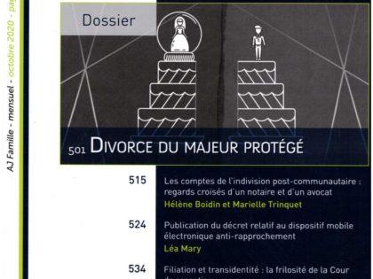 Nouvelles chroniques de Valéry Montourcy sur le divorce du majeur protégé, publiées dans l'AJ Famille (éd. Dalloz) d'octobre 2020